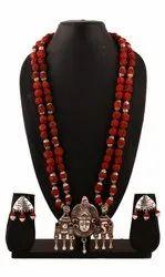 SPJ042 Original Rudraksha Beads Oxidized Temple Pendant