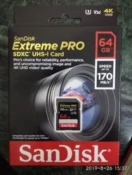 SanDisk SD Card For Camera, Memory Size: 64GB, Size: SDXC UHS-I CARD