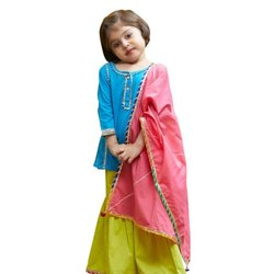 Girls Silk Salwar Pajama With Gota Lace Kurti
