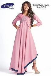 3/4th Sleeve Fancy Rayon Cross Dyed Gown Kurti with Embroidery