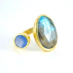Labradorite & Blue Chalcedony Earring