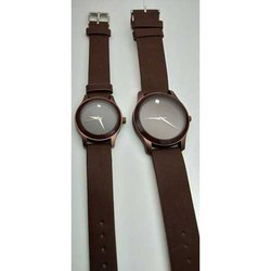 Formal Wear Analog Brown Strap Round Couple Wrist Watch