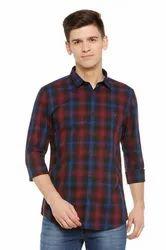 Cotton Allen Solly Maroon Wimbledon Shirt