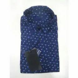 Cotton Blue Printed Mens Shirts