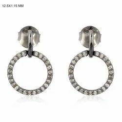 Diamond Round Dangle Earrings