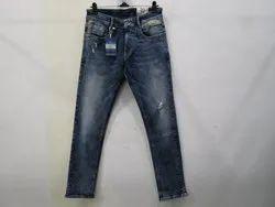 Mens Dark Blue Straight Fit Strech Jeans(PW-08)