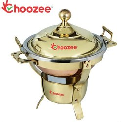 Choozee - Brass Round Sleek Chafing Dish (Capacity 5 LTS)