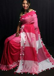 6.3 m (with blouse piece) Khadi cotton Ladies Handloom Saree