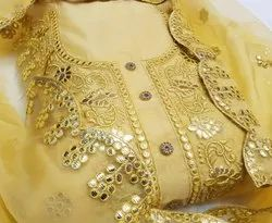 Cotton Chanderi Party Wear Dress Material