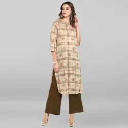Janasya Women's Beige Pure Cotton Kurta