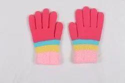 Pink Full Finger Winter Gloves