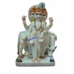 2.5 Feet White Marble Dattatreya Statue