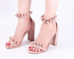 Frill Nude High Heels Ladies Sandal