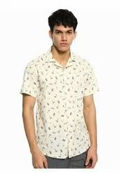 Printed Beige Half Sleeve Men Casual Cotton Shirt