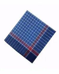 Blue Printed Men's Handkerchief, Hand Wash, Size: 12 X 12 Inch