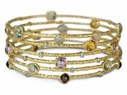 Golden Bangle With Gemstone