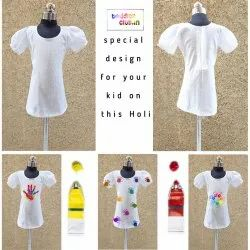 Cotton Kids Girl White Kurti