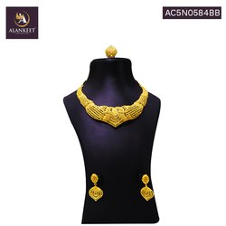 Wedding Wear Indian Gold Plated Necklace Earring Set Ethnic Jewellery for Women