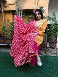 Cotton Stitched Ladies Designer Embroidered Sharara Suit