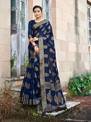 Blue Banarasi Jute Linen Saree  With Blouse Piece