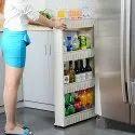 4 Layer Slim & Sleek Multi Storage Kitchen Bottle Organizer Rack Trolley / 54x12x100 cm (White)