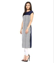 Ladies Half Sleeve Blue Kurtis