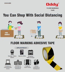 Oddy Floor Marking Adhesive Tape - Yellow Black (Single Side) - 48 Mm x 21 Mtr