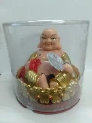 Kesar Zems Solar Laughing Buddha for Home Decor Wealth and Goodluck (Golden)