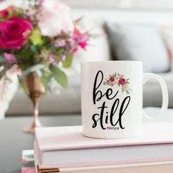 White Printed Ceramic Coffee Mug, For Gifting, Capacity: 250 Ml