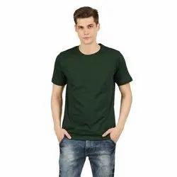 Mens Green Plain Round Neck T-Shirt