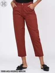 Rust Maroon Twill Trousers for Women
