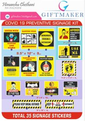Vinyl Corona - Safety Sticker Sign 35 Pc, Packaging Type: Packet