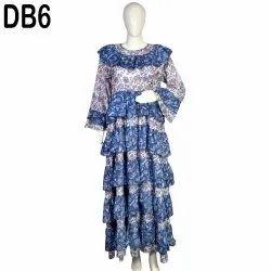10 Cotton Hand Printed Women's Abaya Long Dress DB6