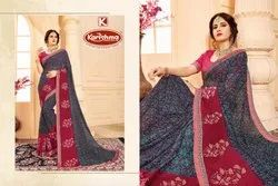 Printed Embroidered Georgette Saree - Harnish