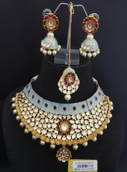 Kundan Mint Necklace Set