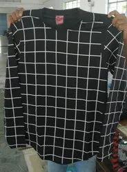 Men Check Print Black Cotton T-Shirt