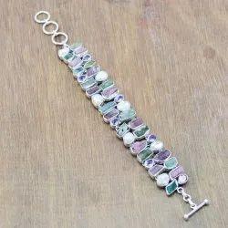 925 Sterling Silver Jewelry Amethyst Turmuline Rough Gemstone Fine Bracelet Wb-6103