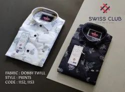 Cotton Collar Neck Swiss Club Men's Casual Dobby Twill Floral Printed Shirt