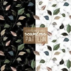 Marble Floral Leaf Printed Fabrics (18 Different Fabrics)