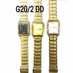 Rectangular Analog Men Golden Wrist Watches