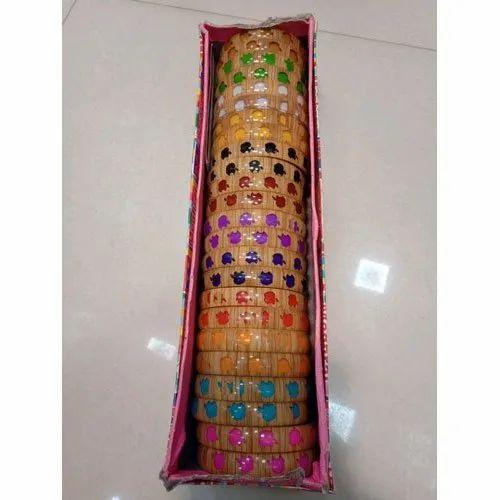 Casual Wear Round Designer Plastic Bangle Set, Packaging Type: Box