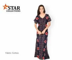 Stitched Casual Wear Ladies Blue Floral Print Cotton Nightgown