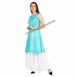 Cotton Slub Party Wear Ladies seeveless Kurti with Skirt