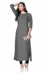 Grey Casual Wear Ladies Plain Rayon Kurti, Size: M,L,XL,XXL