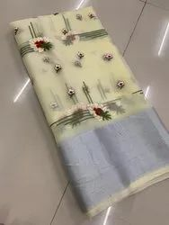 Net Embroidered Saree with Blouse Piece