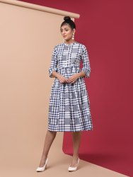 PRINTED COTTON CHECKERED FLARED KURTI