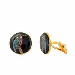 Hand Painted Exotic Birds 92.5 Sterling Silver and Enamel Cufflinks