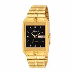 Jainx Square Black Dial Golden Day and Date Function Analog Watch for Men's JM1128
