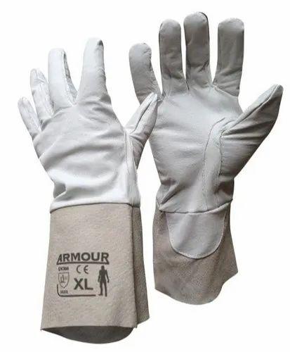 White Cotton Hand Tig Argon Gloves, Size: XL, for Machine Operation