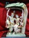 Marble Radha Krishna Statue on Swing